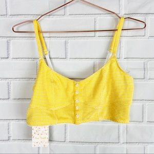 Free People sunshine checkered bralette crop top M